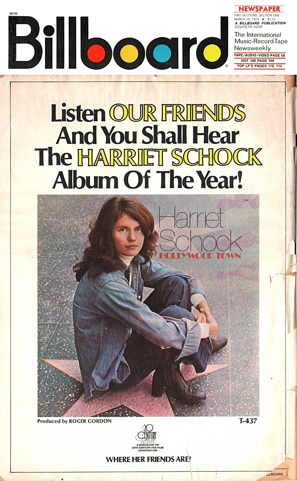 Harriet Schock Billboard 1974 Back Cover
