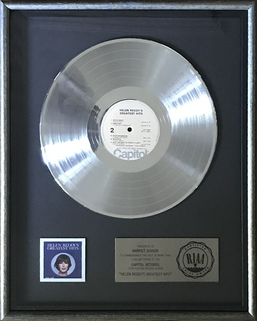 Harriet Schock Helen Reddy Platinum Record