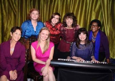 Cast From Split - (left to right) - Kathy Robbins, Leslie Welles (Director), Jackie Fiske, Madison Brunoehler (Stage Manager), Jody Berger, Harriet Schock, Andrea Ross-Greene